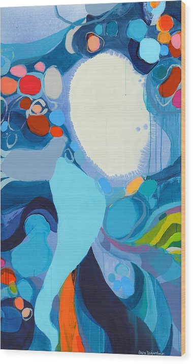 Abstract Wood Print featuring the painting A Woman Named Emory by Claire Desjardins
