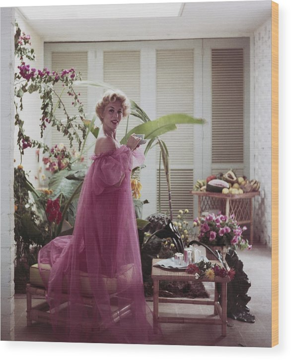 Nightie Wood Print featuring the photograph Eva Gabor by Slim Aarons