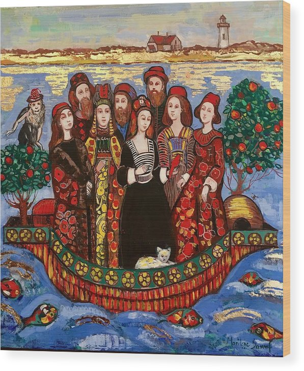 Immigrants Wood Print featuring the painting the Immigrants by Marilene Sawaf