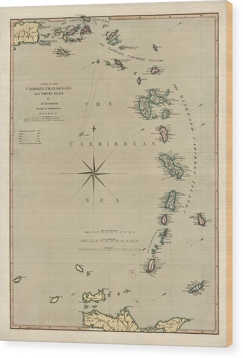 Antique Map of the Caribbean - Lesser Antilles - by Mathew Richmond - 1789 by Blue Monocle