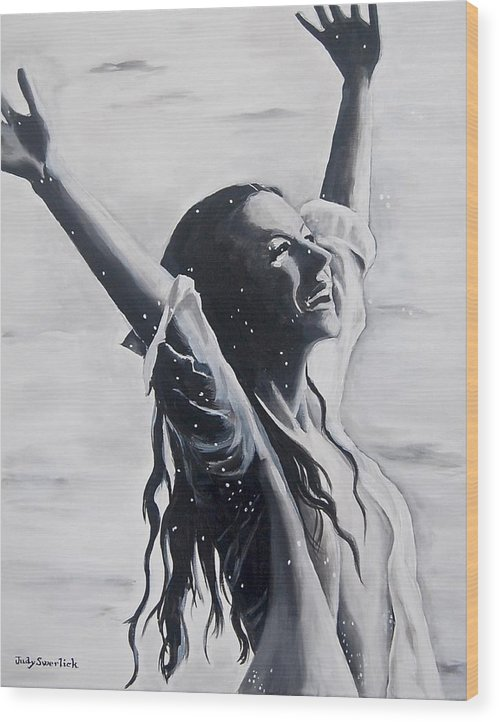 Girl Wood Print featuring the painting Lake Swan Splash by Judy Swerlick