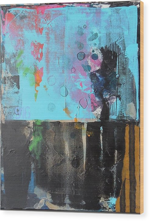 Abstract Mixed Media Collage On Canvas Wood Print featuring the mixed media Nine One Six by Jo Ann Brown-Scott