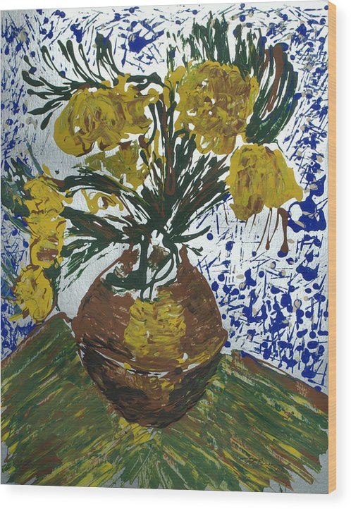 Flowers Wood Print featuring the painting Van Gogh by J R Seymour