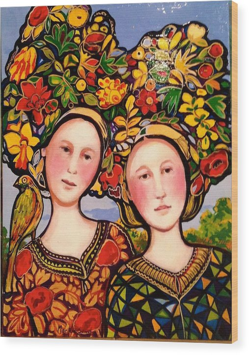 Photo Stream Wood Print featuring the painting Women and hats with bird by Marilene Sawaf