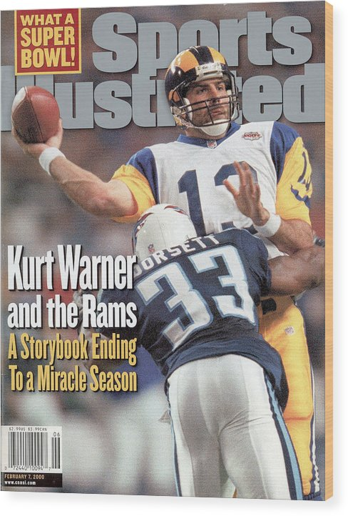 Atlanta Wood Print featuring the photograph St. Louis Rams Qb Kurt Warner, Super Bowl Xxxiv Sports Illustrated Cover by Sports Illustrated