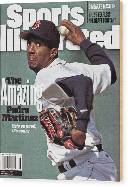 Magazine Cover Wood Print featuring the photograph Boston Red Sox Pedro Martinez... Sports Illustrated Cover by Sports Illustrated