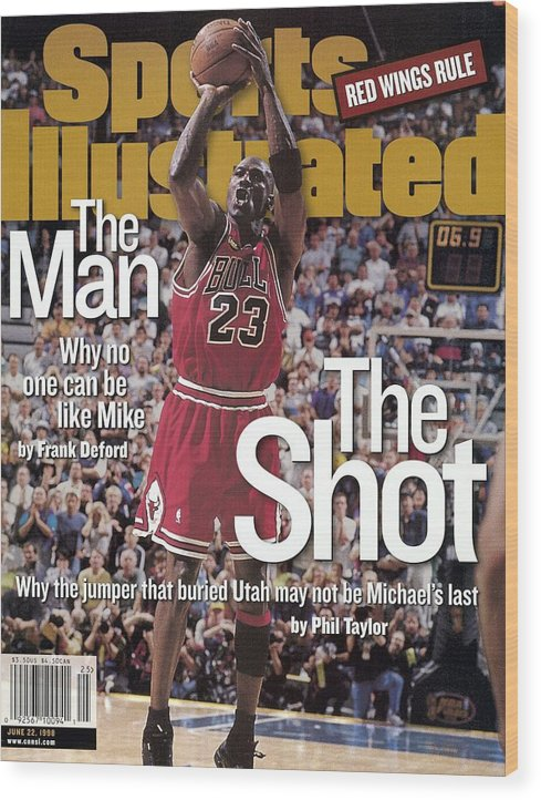 Magazine Cover Wood Print featuring the photograph Chicago Bulls Michael Jordan, 1998 Nba Finals Sports Illustrated Cover by Sports Illustrated