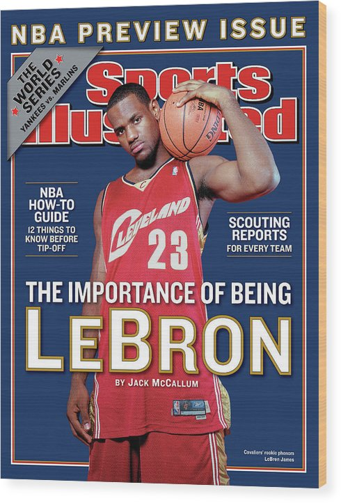 Magazine Cover Wood Print featuring the photograph Cleveland Cavaliers LeBron James, 2003-04 Nba Basketball Sports Illustrated Cover by Sports Illustrated