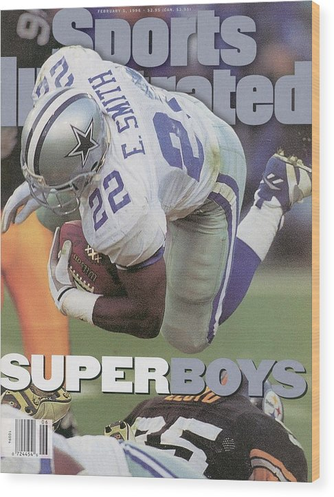 Emmitt Smith Wood Print featuring the photograph Dallas Cowboys Emmitt Smith, Super Bowl Xxx Sports Illustrated Cover by Sports Illustrated