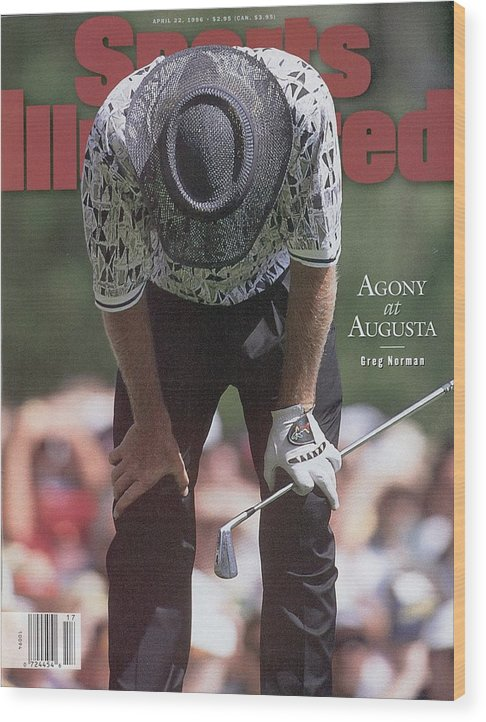 Magazine Cover Wood Print featuring the photograph Greg Norman, 1996 Masters Sports Illustrated Cover by Sports Illustrated