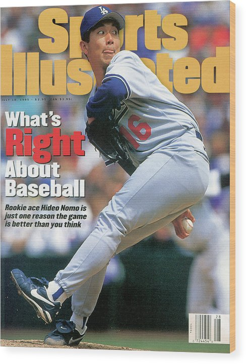 Magazine Cover Wood Print featuring the photograph Los Angeles Dodgers Hideo Nomo... Sports Illustrated Cover by Sports Illustrated