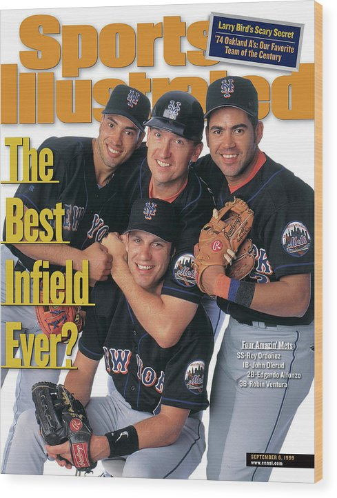 Robin Ventura Wood Print featuring the photograph New York Mets The Best Infield Ever Sports Illustrated Cover by Sports Illustrated