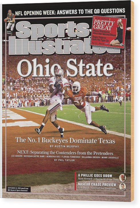 Magazine Cover Wood Print featuring the photograph Ohio State Ted Ginn Jr... Sports Illustrated Cover by Sports Illustrated