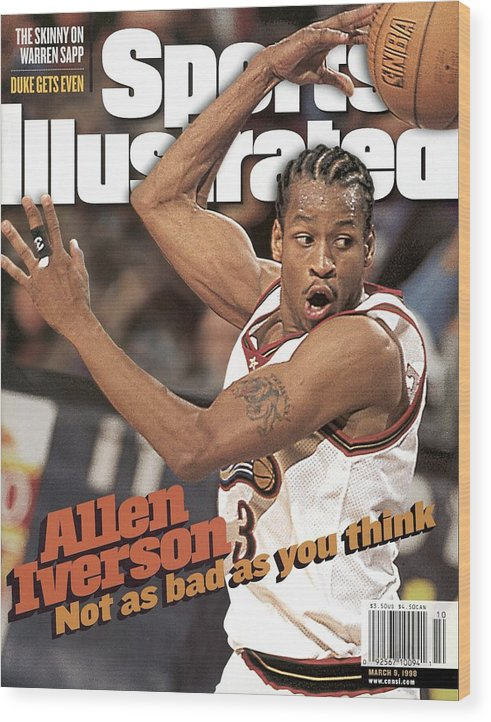 Magazine Cover Wood Print featuring the photograph Philadelphia 76ers Allen Iverson... Sports Illustrated Cover by Sports Illustrated