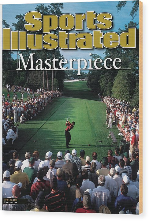 Magazine Cover Wood Print featuring the photograph Tiger Woods, 2001 Masters Sports Illustrated Cover by Sports Illustrated