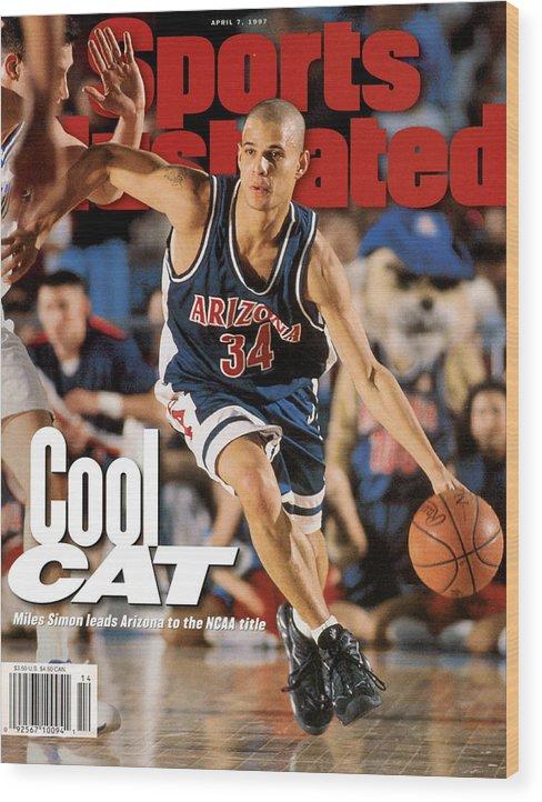 Sports Illustrated Wood Print featuring the photograph University Of Arizona Miles Simon, 1997 Ncaa National Sports Illustrated Cover by Sports Illustrated