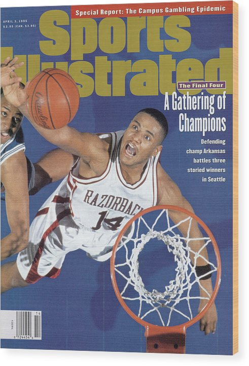 Magazine Cover Wood Print featuring the photograph University Of Arkansas Corey Beck, 1995 Ncaa Midwest Sports Illustrated Cover by Sports Illustrated