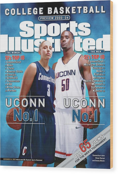 Magazine Cover Wood Print featuring the photograph University Of Connecticut Diana Taurasi And Emeka Okafor Sports Illustrated Cover by Sports Illustrated
