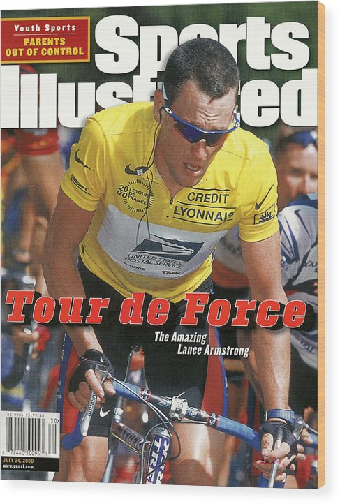 Magazine Cover Wood Print featuring the photograph Us Postal Service Team Lance Armstrong, 2000 Tour De France Sports Illustrated Cover by Sports Illustrated
