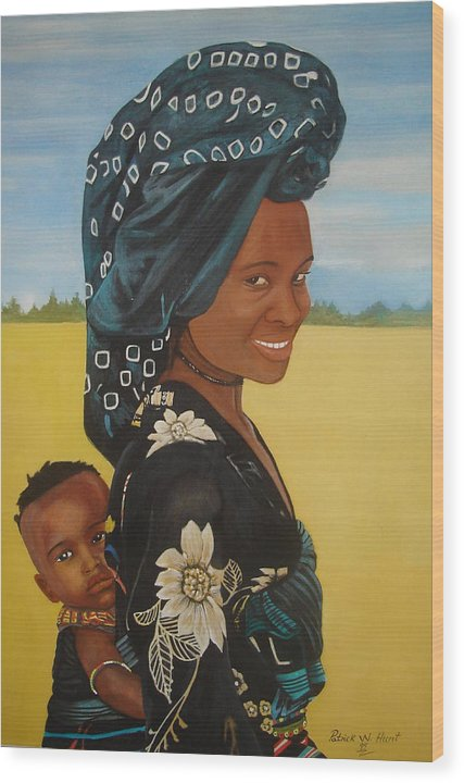 African Mother And Child Wood Print featuring the painting Mother And Child by Patrick Hunt