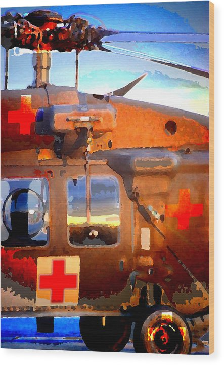 Wood Print featuring the digital art Helicopter by Danielle Stephenson