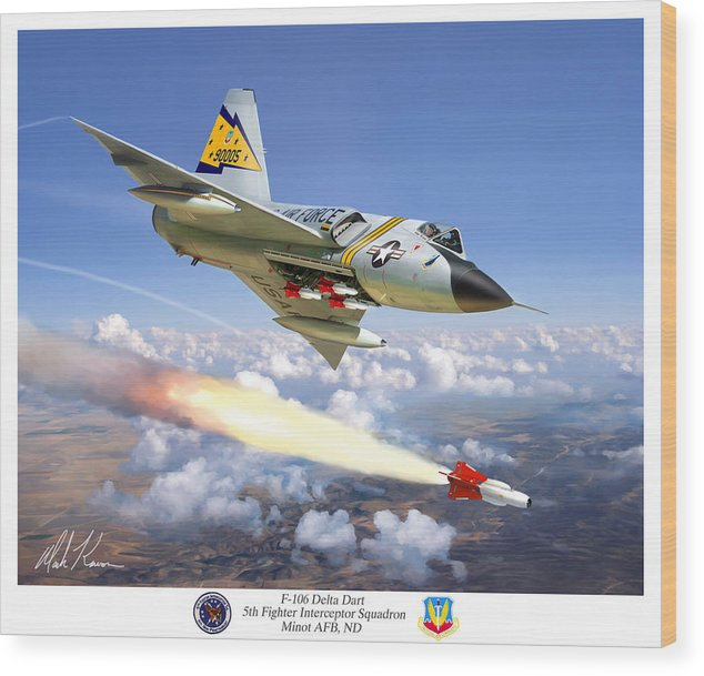 Aviation Wood Print featuring the painting F-106 Delta Dart 5th Fis by Mark Karvon