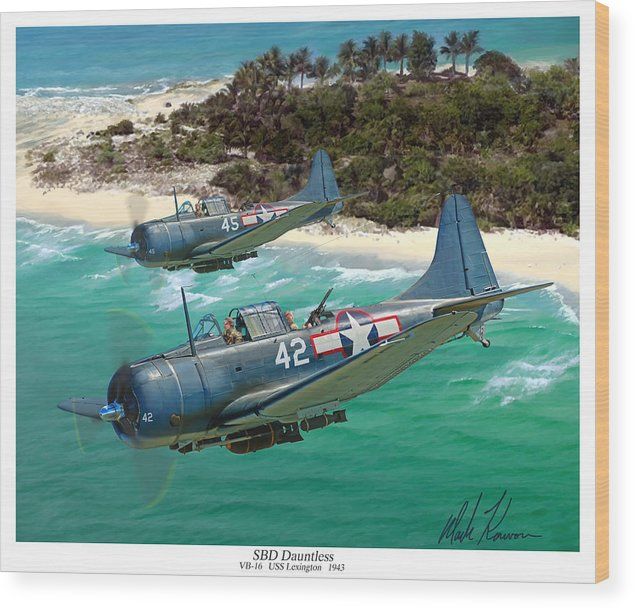 Aviation Wood Print featuring the painting Sbd Dauntless by Mark Karvon