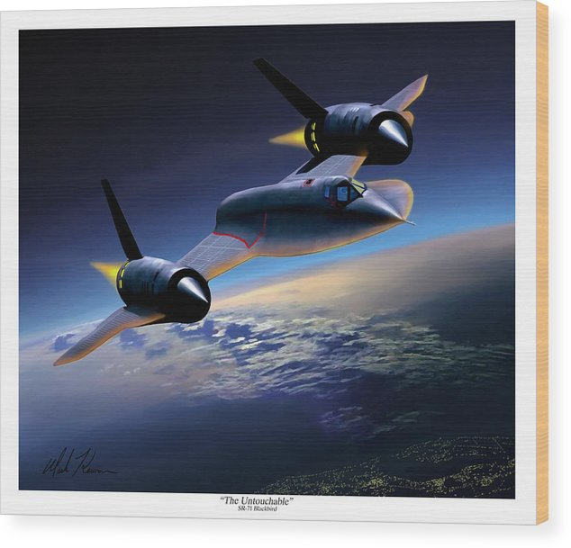 Airplane Wood Print featuring the painting The Untouchable Sr-71 Blackbird by Mark Karvon