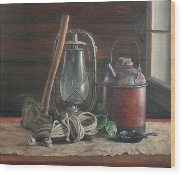 Rustic Wood Print featuring the painting Cabin Still Life by Anna Rose Bain