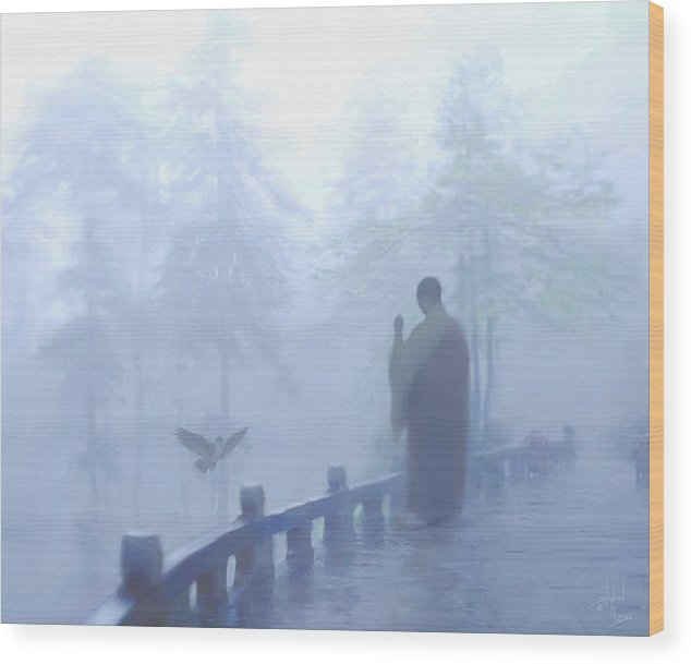 Spiritual. Temple Wood Print featuring the digital art The Temple Calling by Stephen Lucas