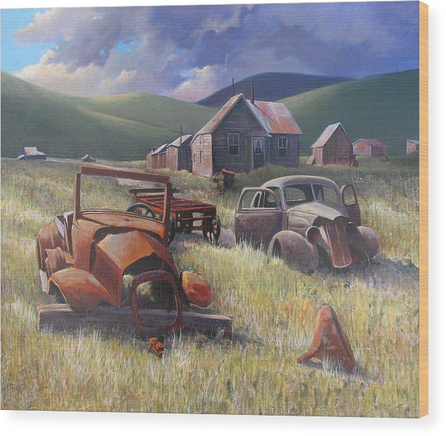 Old Cars Mixed Media Wood Print featuring the painting Eternal Race by Don Trout