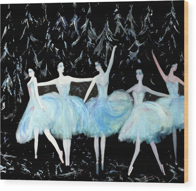 Ballet Wood Print featuring the painting Ballet In Blue by Michela Akers