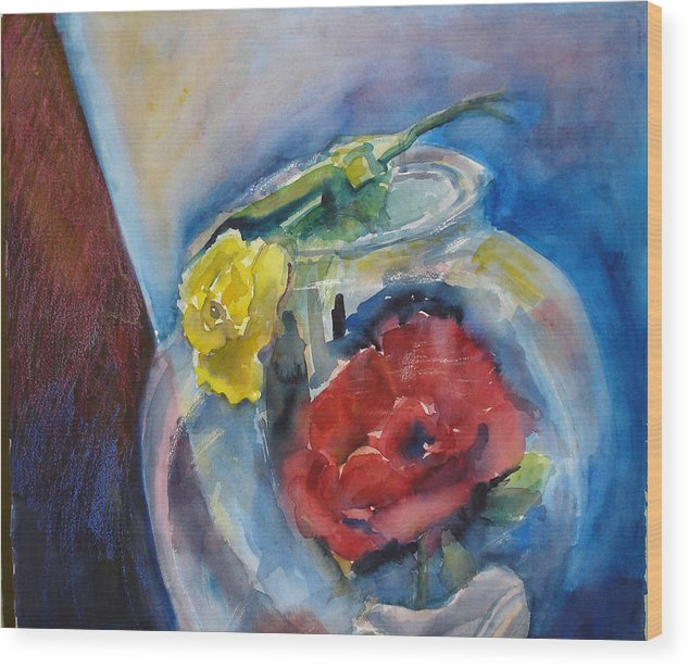 Roses Wood Print featuring the painting Roses In A Fish Bowl by Joyce Kanyuk