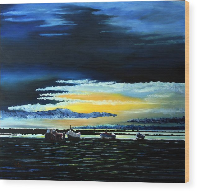 Seascape Wood Print featuring the painting Sunrise Over Boulmer Beach by John Cox