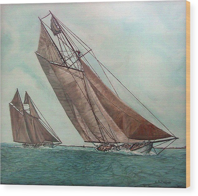 Massachusetts Wood Print featuring the painting Ingomar And Elmina by Laurence Dahlmer