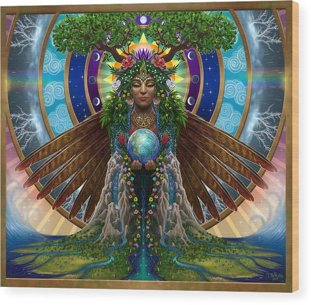 Gaia Wood Print featuring the painting Gaia Sacred System by Cristina McAllister