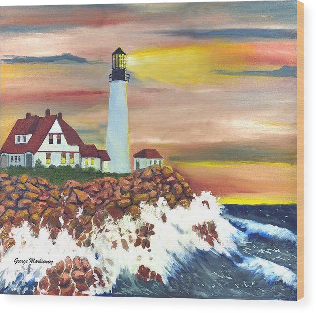 Lighthouse In The Begging Of A Storm Wood Print featuring the print Guiding Light by George Markiewicz