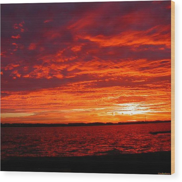 Canadian Wood Print featuring the painting Canadian Sunset by Lady Red
