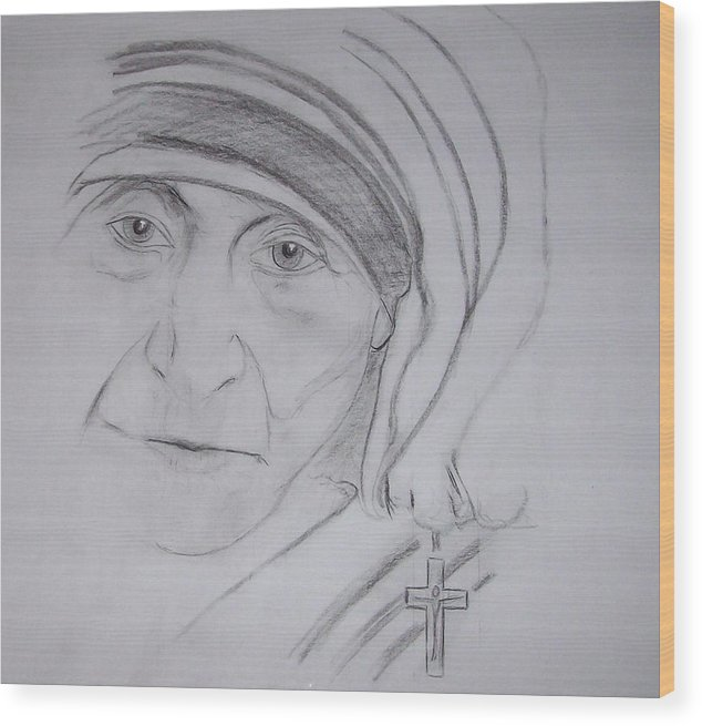 mother Theresa Wood Print featuring the drawing Mother Theresa by Valerie Wolf