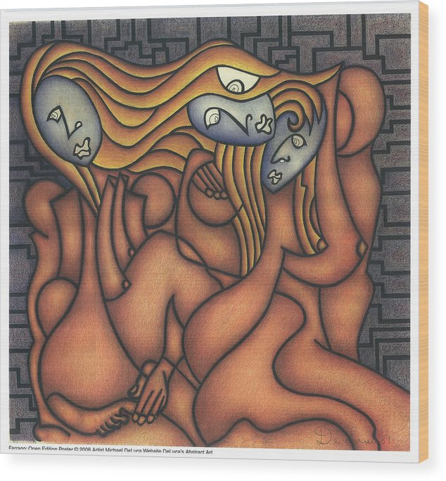 Three Women Wood Print featuring the drawing Farrago by Michael Deluca