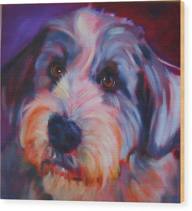 Old English Sheep Dog Wood Print featuring the painting Willie by Kaytee Esser