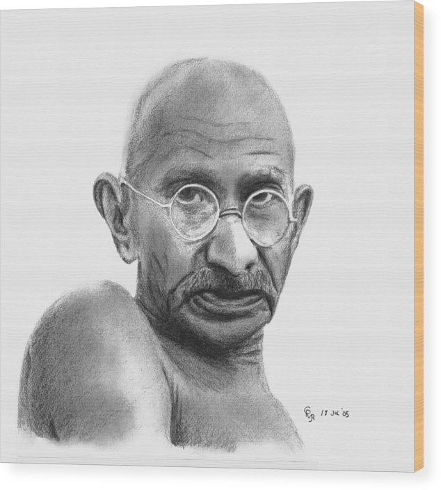 Gandhi Wood Print featuring the drawing Gandhi by Charles Vogan