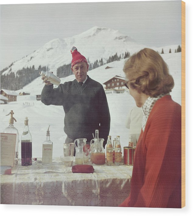 Mixing Wood Print featuring the photograph Lech Ice Bar by Slim Aarons