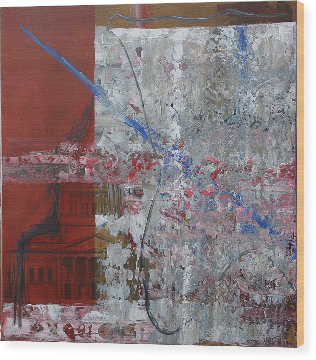Expressionism Wood Print featuring the painting Art Encroaching On Architecture by Detlef Gotzens