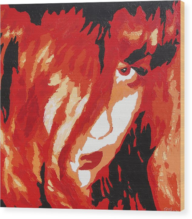 Portrait Wood Print featuring the painting Consumed by Ricklene Wren