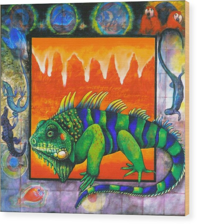 Iguana Wood Print featuring the painting Iguana by Christine McGinnis