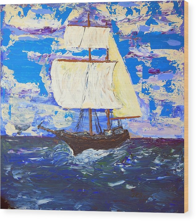 Clipper Wood Print featuring the painting Little Clipper by J R Seymour