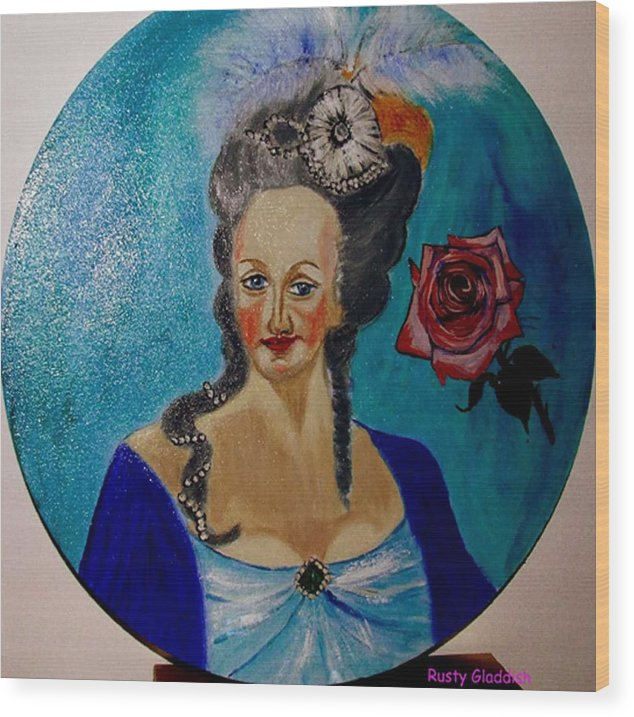 Guillotine Wood Print featuring the painting Marie Antoinette by Rusty Gladdish