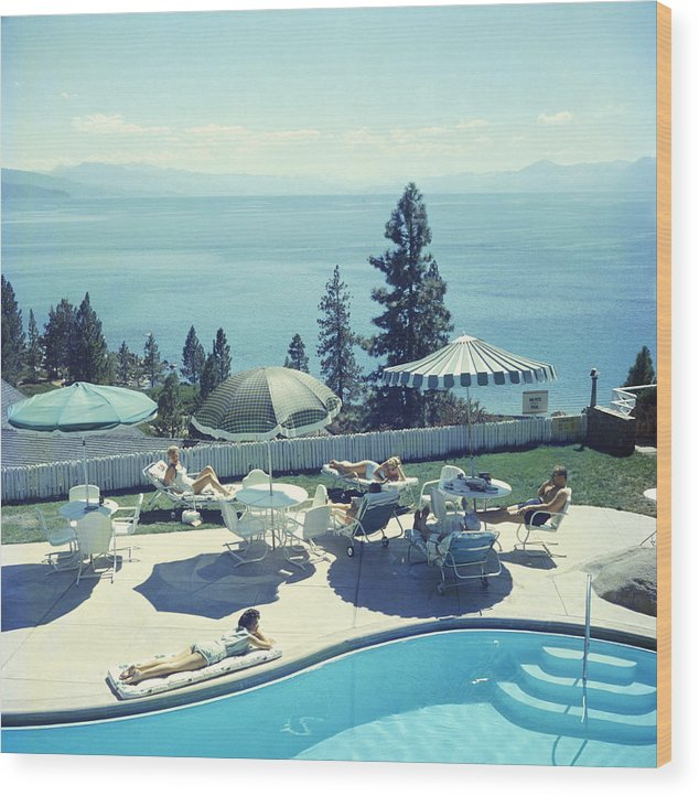 Relaxing At Lake Tahoe Wood Print
