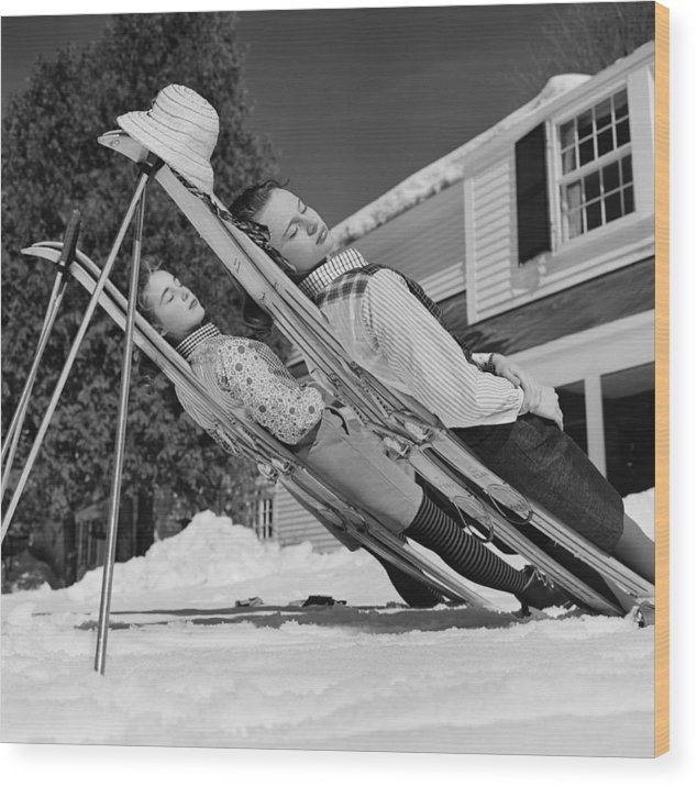 People Wood Print featuring the photograph New England Skiing by Slim Aarons
